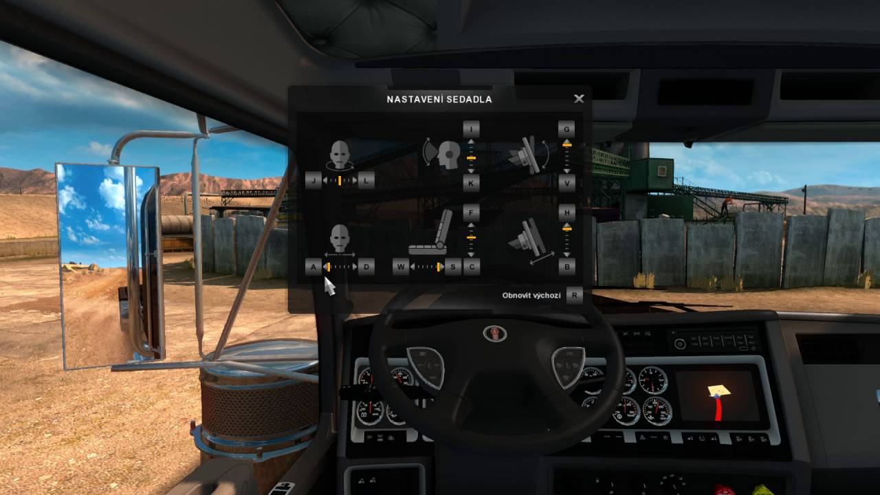 American Truck Simulator  – nastavení kabiny